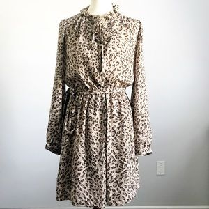 LOFT Leopard Long Sleeve Dress